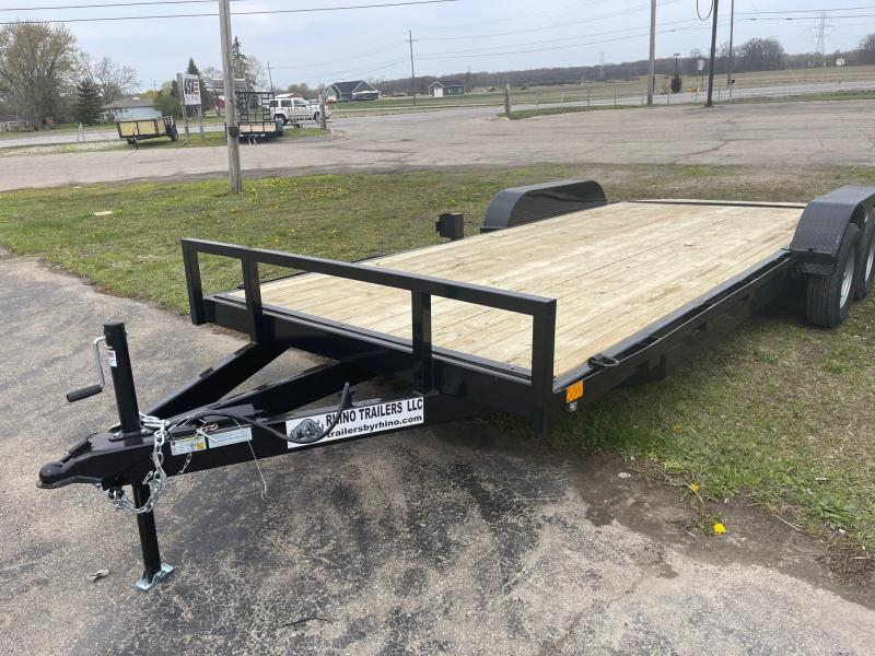 20ft  RHINO Tandem WOOD DECK CARHAULER Trailer - 2 Axle Brake
