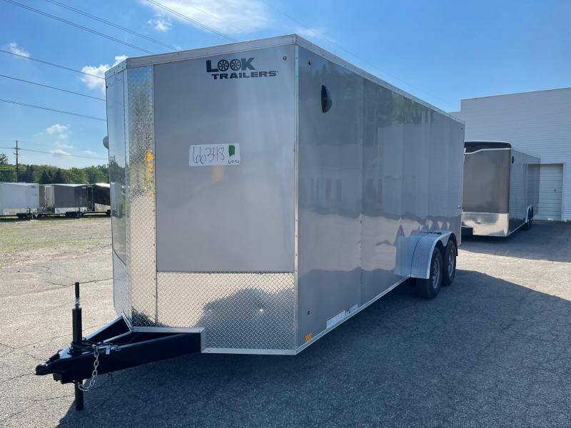 7 X 20 Enclosed V-Nose Trailer W - Ramp Door WITH 7ft INTERIOR HEIGHT