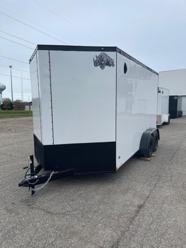 7 x 14 7K Rhino Safari - Enclosed Trailer - w/ Ramp Door 7,000 GVW  7ft Interior