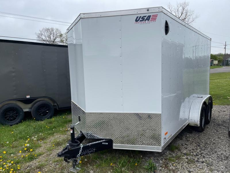 7X14 Enclosed V-Nose Trailer W - Ramp Door  6ft 6in interior