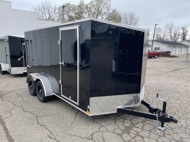 7 X 14 Enclosed V-Nose Trailer W - Ramp Door