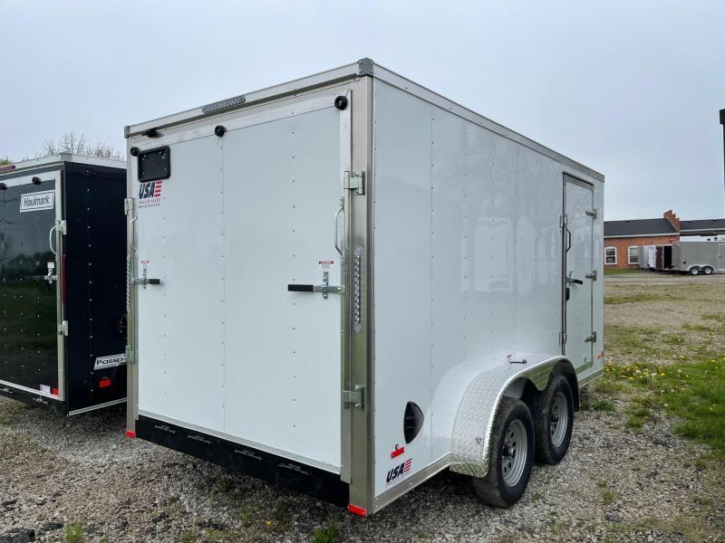7X14 Enclosed V-Nose Trailer W - Ramp Door  6ft 6in interior