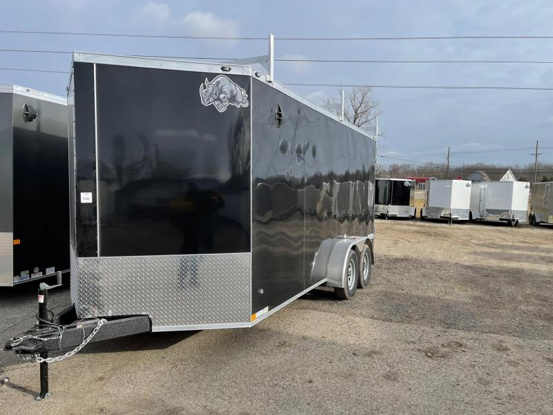 7 x 16  Rhino Safari - Enclosed Trailer - w/ Ramp Door with 3 Ladder Racks