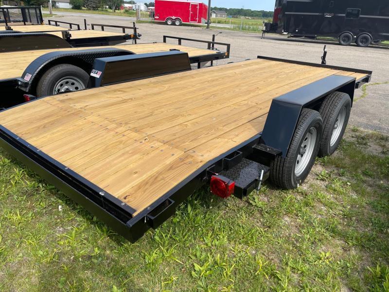 18ft Wood Deck Car Hauler Trailer w/ 2 Axle Brake