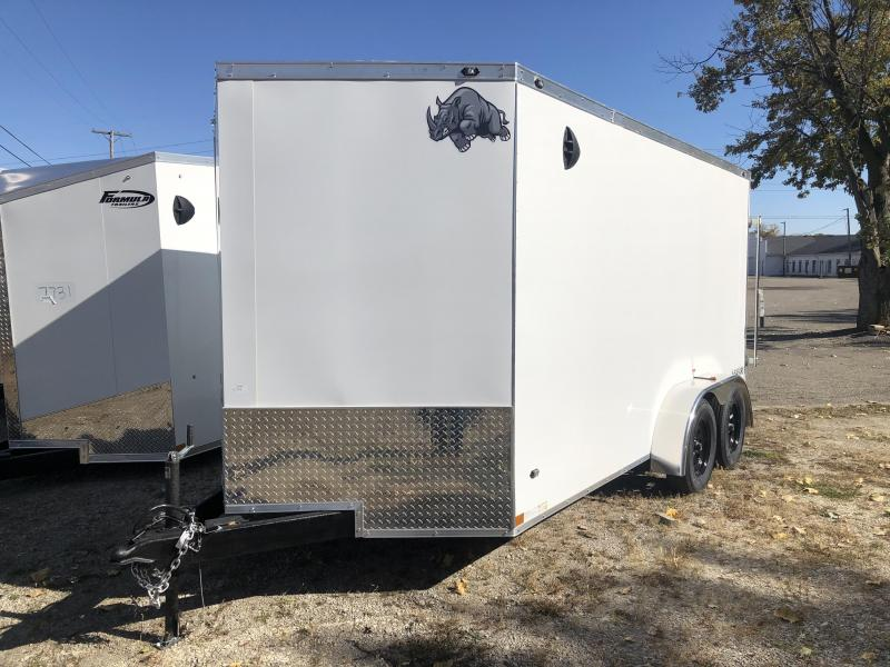 7 x 14  Rhino Safari - Enclosed Trailer - w/ Ramp Door ( 6 inch Extra Height ) Slightly Damage