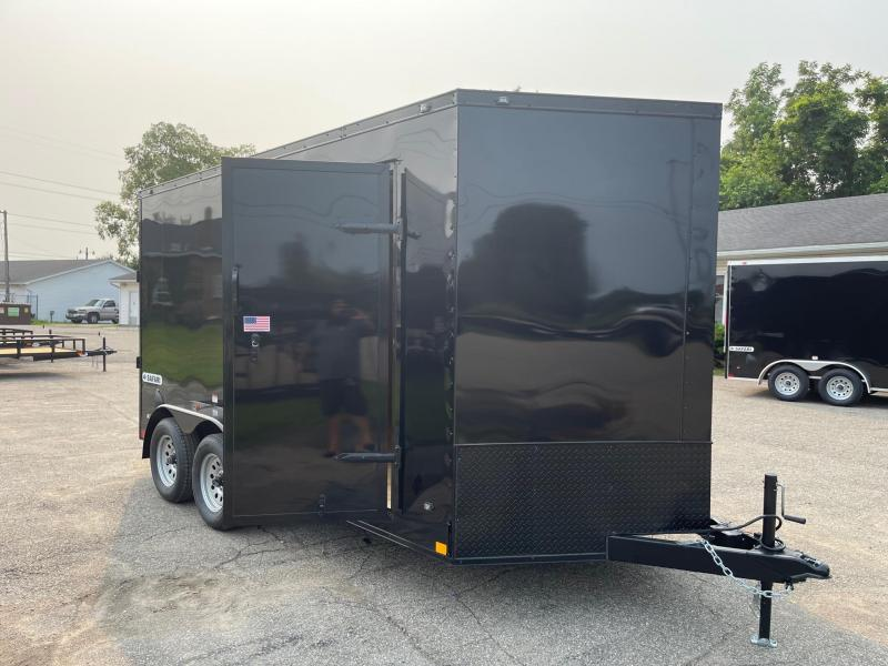 7 x 14 7K Rhino Safari - Enclosed Trailer - w/ Ramp Door 7,000 GVW  7ft Interior Black OUT Trim