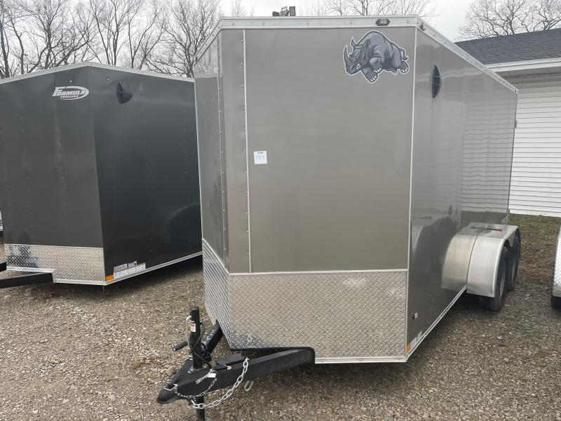 6 x 14 Rhino Cub - Tandem Enclosed Trailer - w/ Barn Door Extra Height
