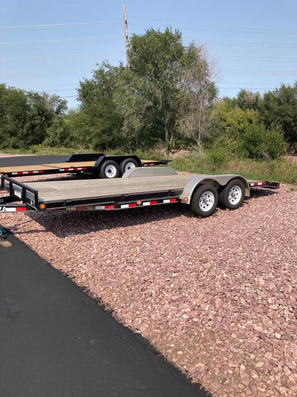 "2019 PJ Trailers 82"" x 18' Car Hauler with 2' Beaver Tail Car Trailer"