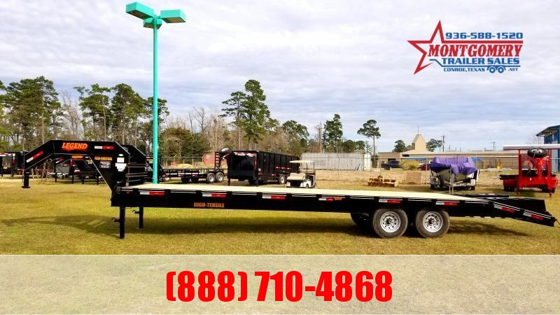 2021 Legend Flatbed Gooseneck Trailers 30 16K Tandem Flatbed Trailer