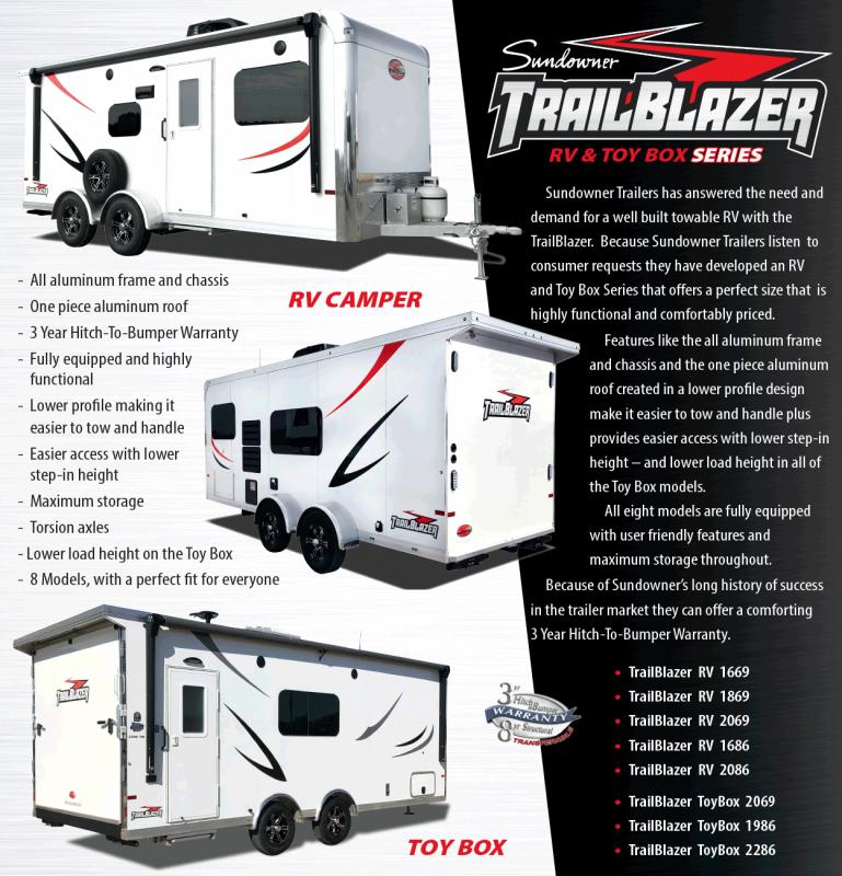 2022 Sundowner Trailers ALL ALUMINUM Trail Blazer trailblazer Toy Hauler RV
