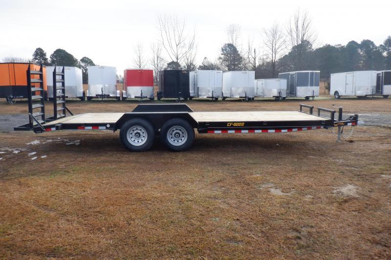 Doolittle Channel Flatbed 82x22 14K Equipment Trailer Flip up Ramps