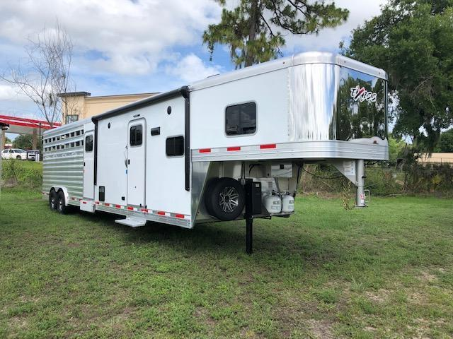 2022 Exiss Trailers 8 wide 10.6 lq w/bunk; midtack and 14' stock area Livestock Trailer