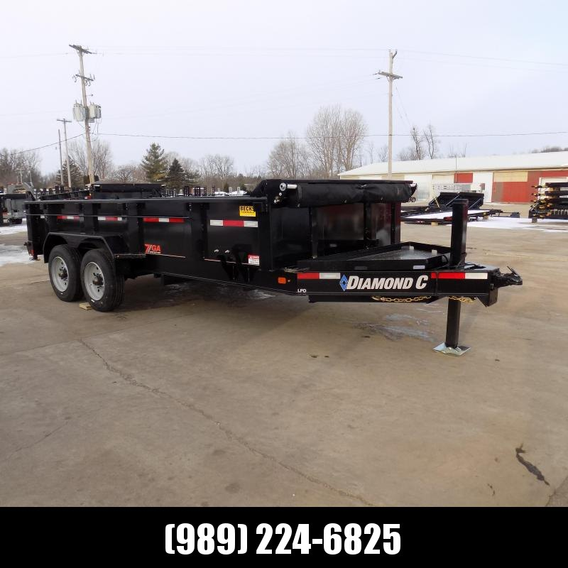 "New Diamond C 82"" x 16' Low Profile Dump Trailer With 10K Torsion Axles & Hydraulic Jack - $0 Down Fianancing Available"