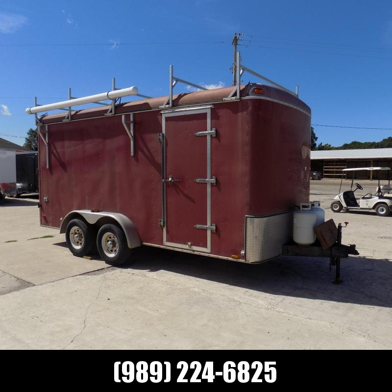 Used United Trailers 7' x 16' Enclosed Cargo/Contractror Trailer - Interior Cabinets & Workstation