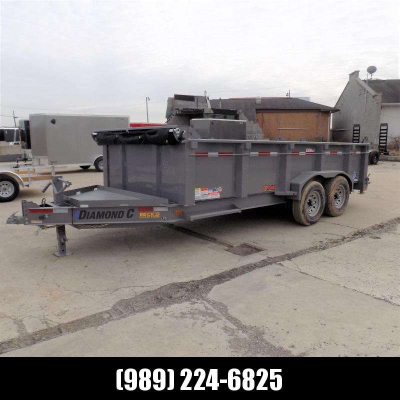 """New Diamond C Trailers 82"""" x 16' Low Profile Dump - Heavy Duty 7 Gage Floor & Sides - $0 Down Financing Available"""