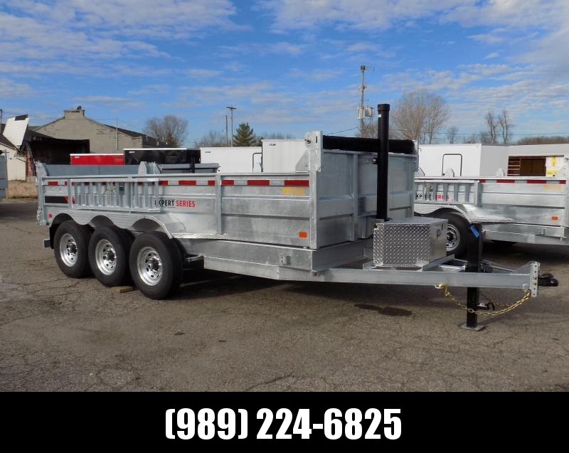 """New Galvanized 80"""" x 16' Dump Trailer with 24K Telescopic Lift - Triple Axle - $0 Down Financing Available"""