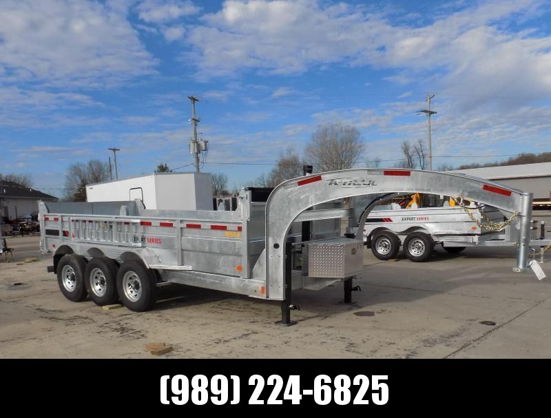 """New Galvanized 80"""" x 16' Triple Axle Gooseneck Dump Trailer with 24K Telescopic Lift - Corrosion Resistant - $0 Down Financing Available"""
