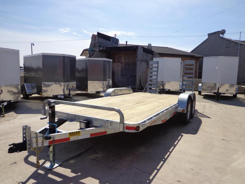 "New Galvanized 83"" x 18' Open Car Hauler - 5200# Axles"
