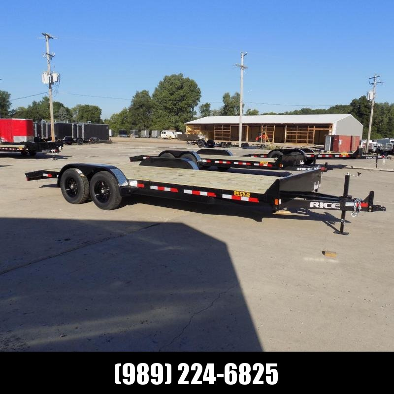 """New Rice Trailers 82"""" x 20' Open Car Hauler With 5200# Axles - $0 Down & Payments From $105/mo. W.A.C."""