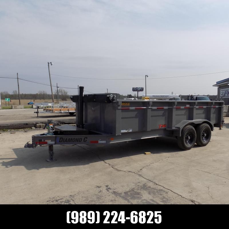 """New Diamond C Trailers 82"""" x 16' Low Profile Dump W/ Telescopic Lift & 32"""" Sides - $0 Down & Payments From $159/mo. W.A.C."""