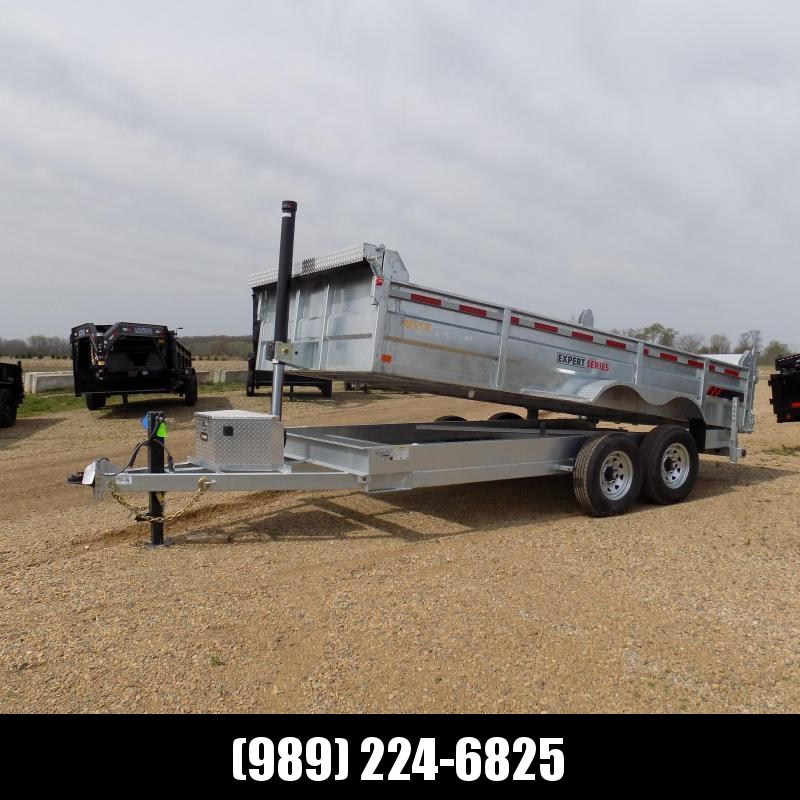 """New Galvanized 82"""" x 16' Dump Trailer with 24K Telescopic Lift - CORROSION RESISTANT - $0 Down Financing Available"""