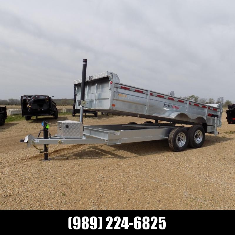 "New Galvanized 82"" x 16' Dump Trailer with 24K Telescopic Lift - CORROSION RESISTANT - $0 Down Financing Available"