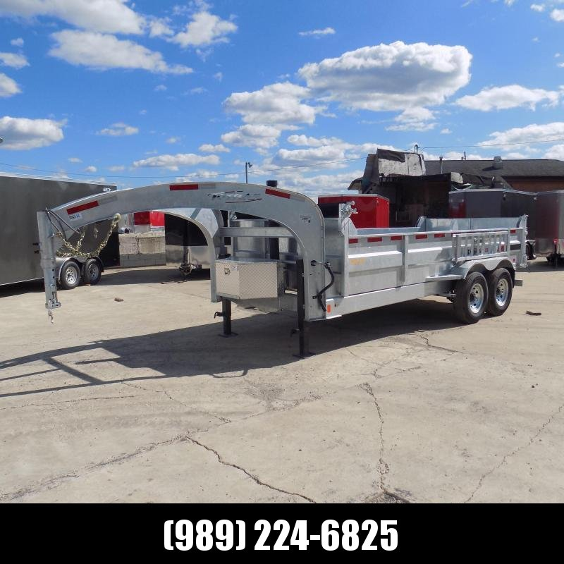 "New Galvanized 80"" x 16' Gooseneck Dump Trailer with 24K Telescopic Lift - Corrosion Resistant - $159/mo. W.A.C."