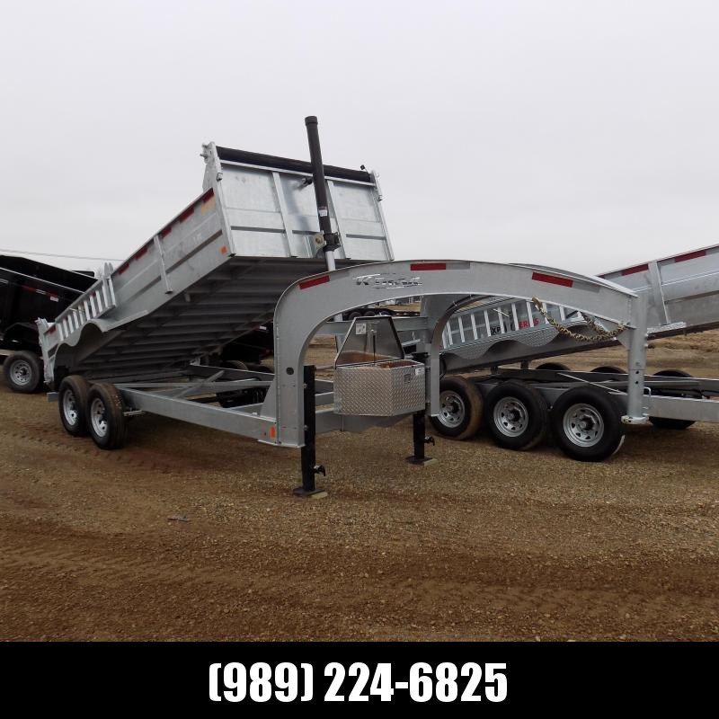 "New Galvanized 80"" x 16' Gooseneck Dump Trailer with 24K Telescopic Lift - Corrosion Resistant - $149/mo. W.A.C."