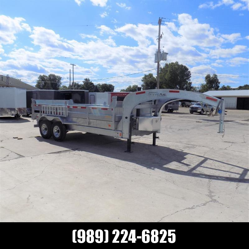 "New Galvanized 80"" x 16' Triple Axle Gooseneck Dump Trailer with 24K Telescopic Lift - Corrosion Resistant - $0 Down Financing Available"