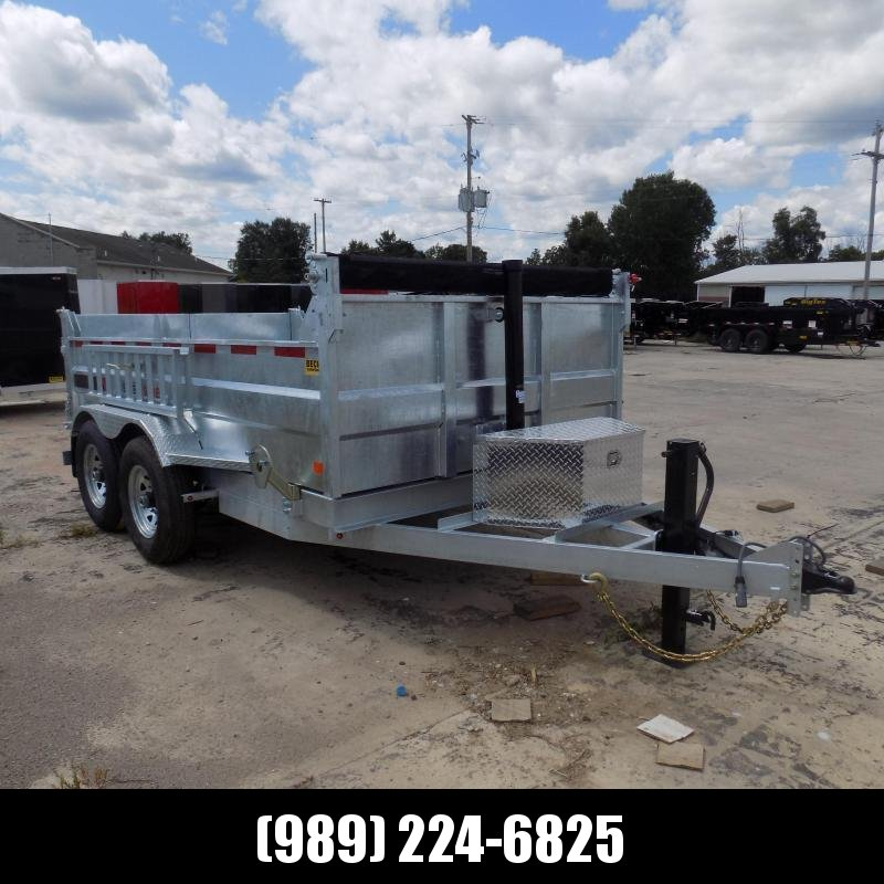 "New Galvanized 80"" x 12' Dump Trailer with Telescopic Lift - Corrosion Resistant"