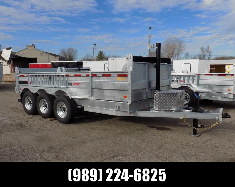 "New Galvanized 80"" x 16' Dump Trailer with 24K Telescopic Lift - Triple Axle - $0 Down Financing Available"