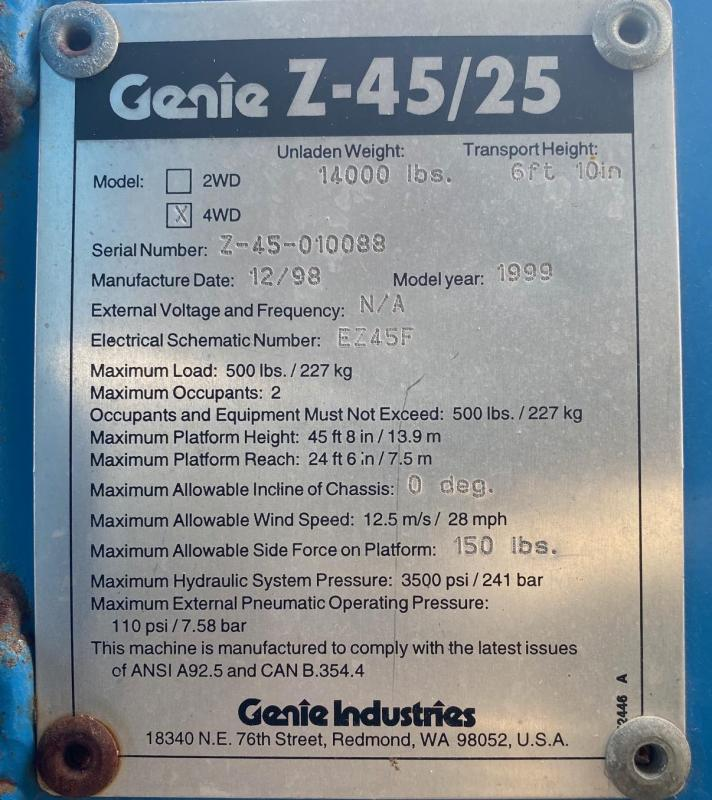 1999 Genie Z45/25 All Terrain Basket Lift