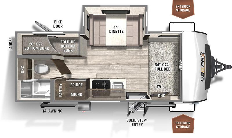 2022 Forest River Rockwood Geo Pro 20BHS Travel Trailer RV