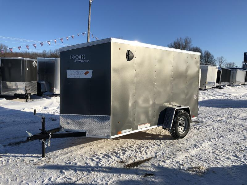 Look Trailers 5X10 V-Nose Ramp Door Enclosed Trailer Charcoal