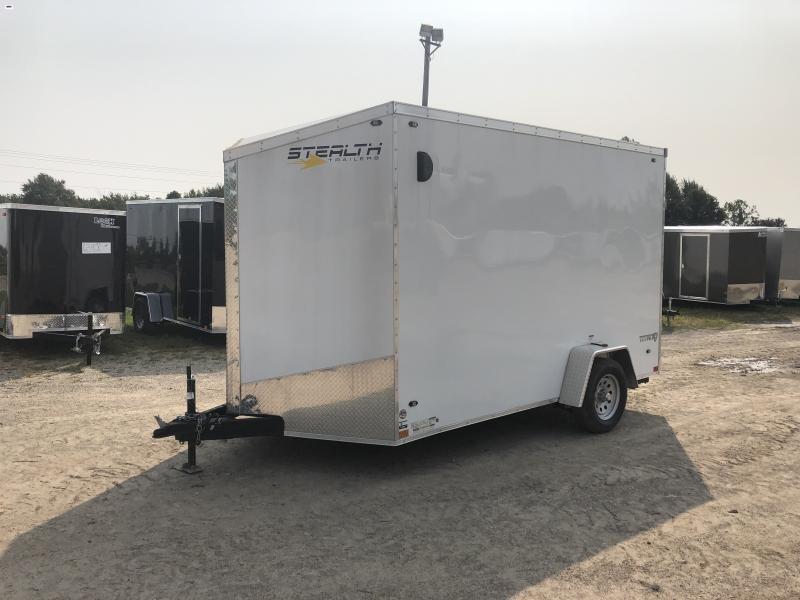 Stealth Trailers White 7x12 V-Nose Ramp Door HD UTV+12 Pkg Enclosed Cargo Trailer