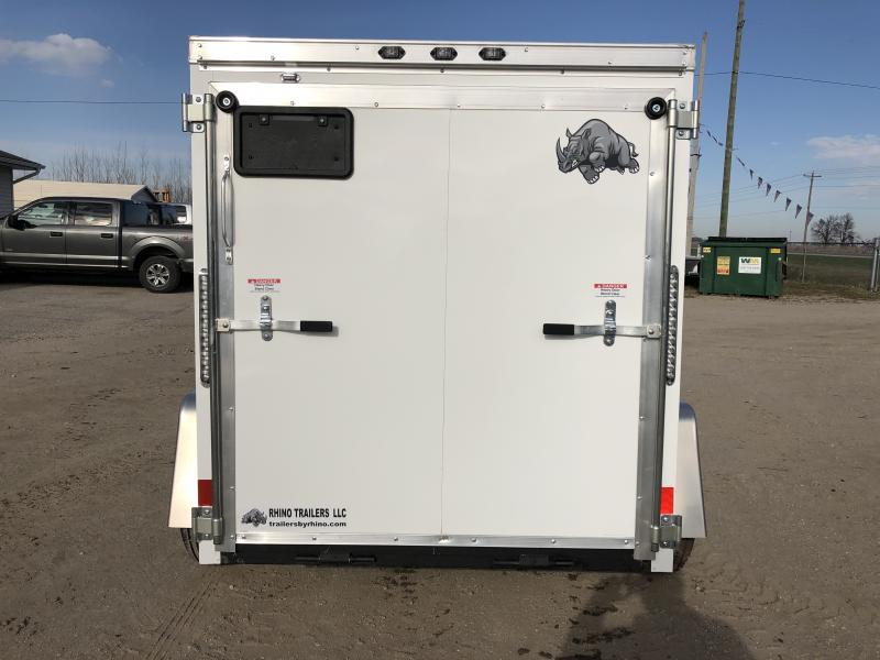 Rhino Trailers PUP 5X8 White V-Nose Ramp Door Enclosed Cargo Trailer