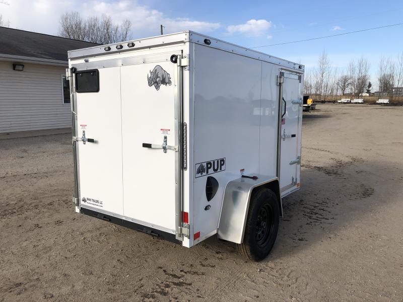 Rhino Trailers PUP 5X8 White V-Nose Ramp Door Enclosed Cargo Trailer