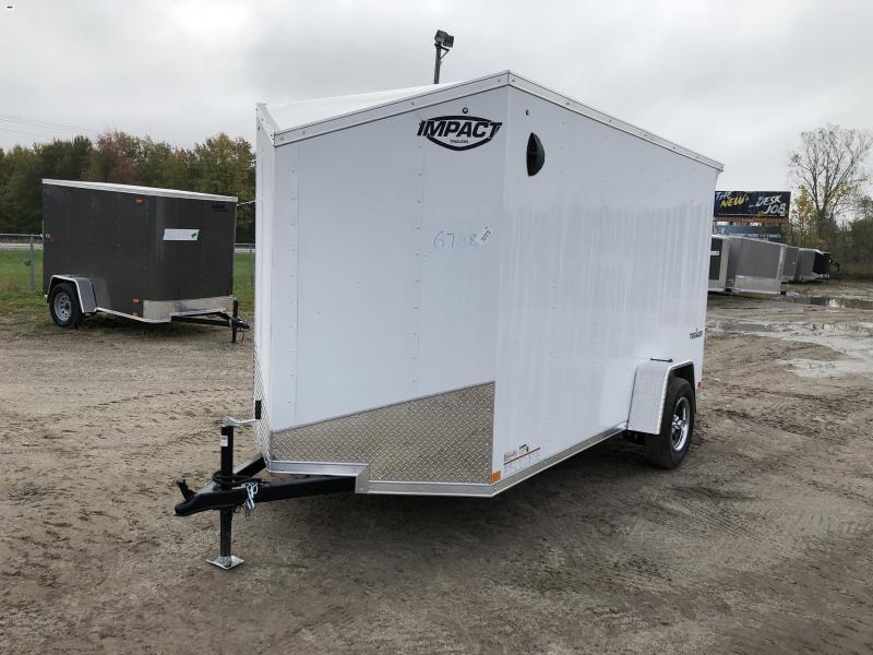 Impact Tremor 6x12 V-Nose Ramp Enclosed Cargo Trailer white w/6'6 Interior height
