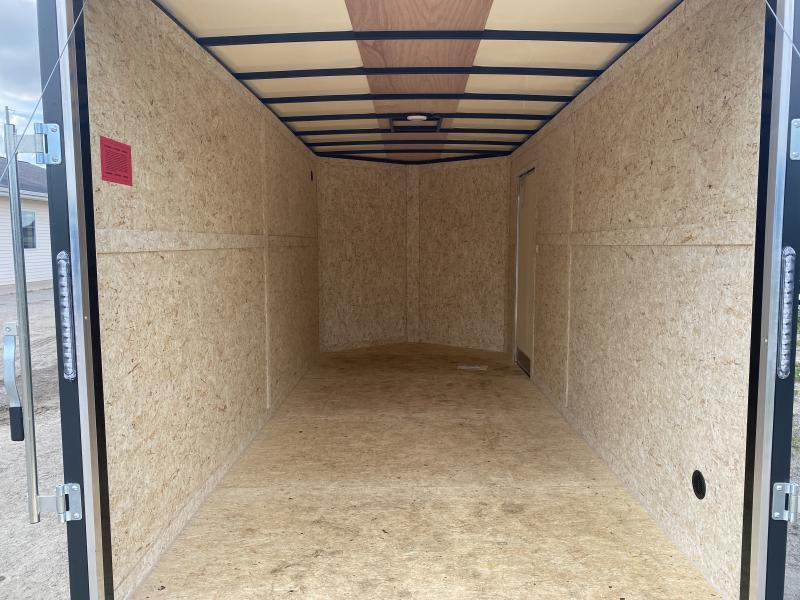 Rhino Trailers SAFARI 7x16 Charcoal V-Nose Ramp Door Enclosed Cargo Trailer w/7ft Interior height