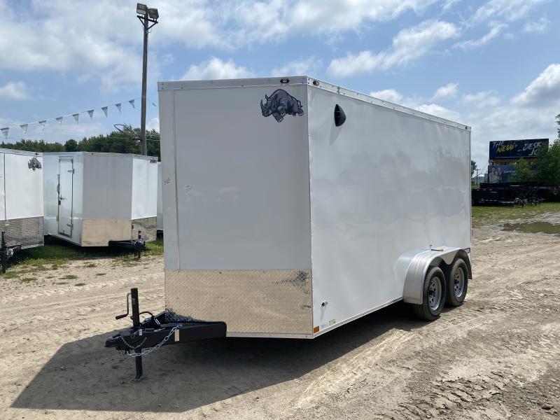 Rhino Trailers SAFARI 7x14White V-Nose Ramp Door Enclosed Cargo Trailer w/7ft Interior height