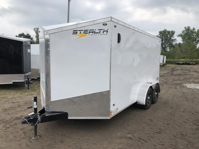 Stealth Trailers 7X14 HD V-Nose Ramp Enclosed Trailer White