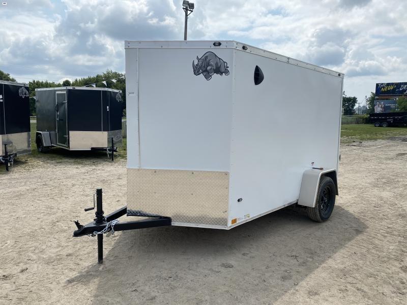 Rhino Trailers CUB 6x10 White V-Nose Ramp Door Enclosed Cargo Trailer