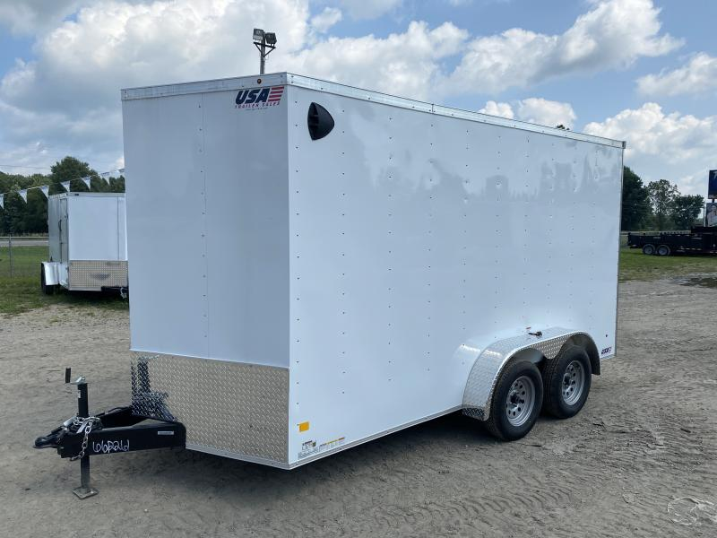 MTI MDLX 7x14 White V-Nose Ramp Door w/ 7ft Interior Height