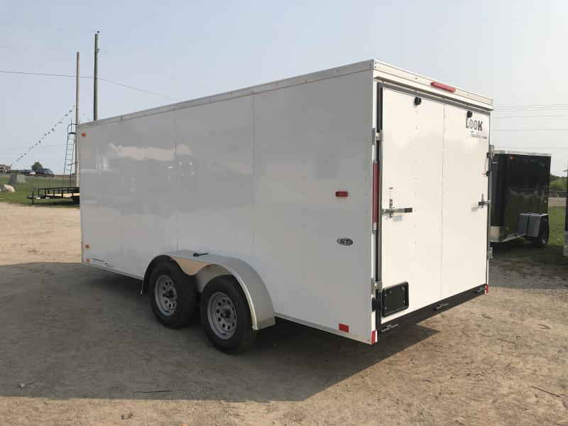 Look Trailers 7x16 V-Nose Ramp Door Enclosed Trailer White