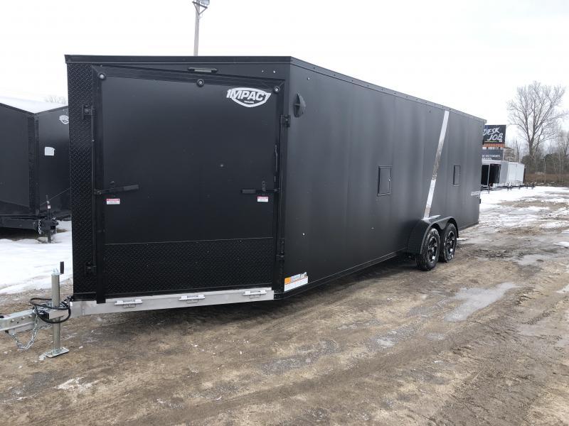 Impact Trailers Sub Zero 7x29 Dlx Snowmobile Trailer Matte Black w/7ft interior