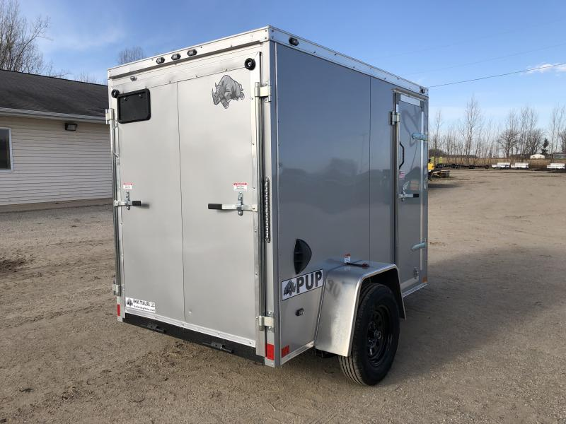 Rhino Trailers PUP 5X8 Silver V-Nose Ramp Door Enclosed Cargo Trailer w/ 6ft 6in Interior Height