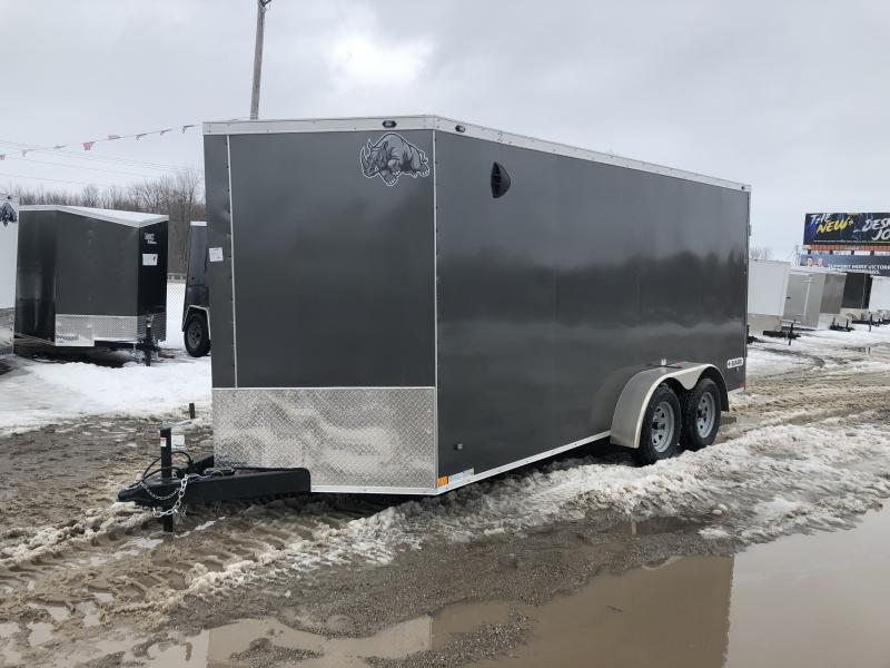 Rhino Trailers SAFARI 7x16 Charcoal V-Nose Ramp Door Enclosed Cargo Trailer w/6ft 6in Interior height