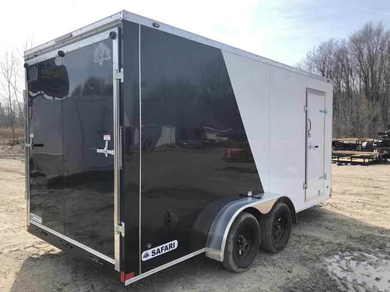 Rhino Trailers SAFARI 7x16 Two-Tone V-Nose Ramp Door Enclosed Cargo Trailer w/7ft Interior height/UTV Pkg