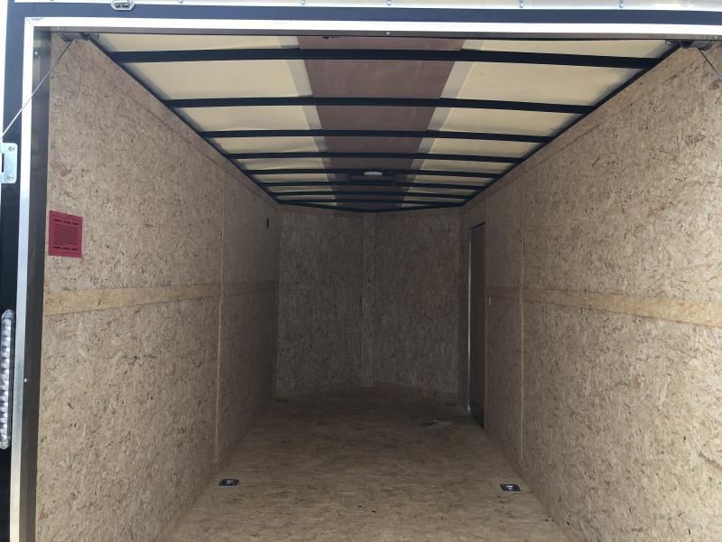 Rhino Trailers SAFARI 7x16 Two-Tone V-Nose Ramp Door Enclosed Cargo Trailer w/7ft Interior height/UTV Pkg