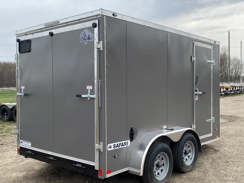 Rhino Trailers SAFARI 7x12 Charcoal V-Nose Ramp Door Enclosed Cargo Trailer w/6ft 6in Interior height